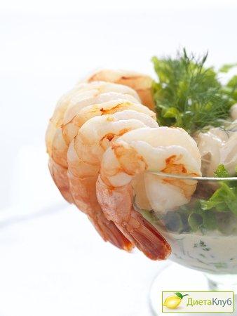 салат-коктейль с креветками и дыней, рецепт
