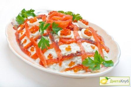 рецепт салата с красной икрой